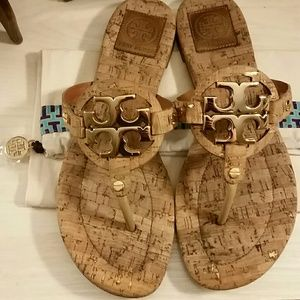 520acf966cd9e Tory Burch Shoes - Tory Burch Miller Sandals   Cork with Gold Emblem